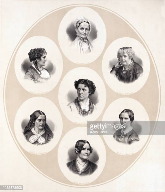 portraits of women of the suffrage and women's rights movement - suffragist stock illustrations