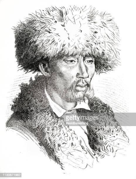 portret of a man with a fur hat in samarkand (uzbekistan) - fur hat stock illustrations