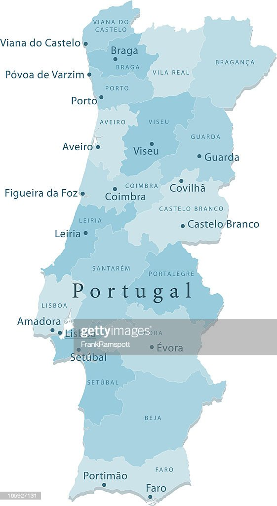 Portugal Vector Map Regions Isolated