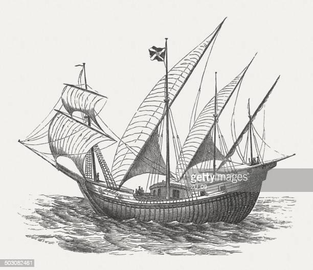 ilustrações, clipart, desenhos animados e ícones de português navio - tall ship