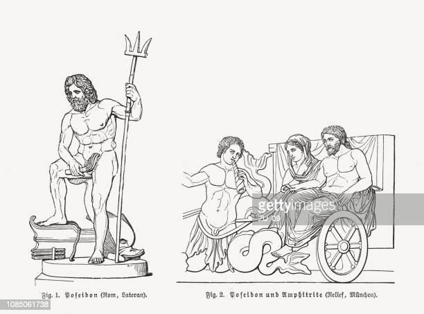 ポセイドーンとアムピトリーテー、ギリシャの神と海の女神 - ポセイドン点のイラスト素材/クリップアート素材/マンガ素材/アイコン素材