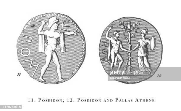 ポセイドンとファラス・アテネ、古典的な伝説と神話の人物彫刻アンティークイラスト、1851年発行 - ポセイドン点のイラスト素材/クリップアート素材/マンガ素材/アイコン素材