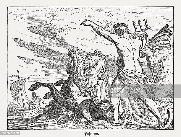 poseidon, greek mythology, wood engraving, published in 1880 - greek mythology stock illustrations