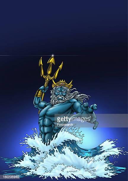 poseidon in the sea - roman god stock illustrations