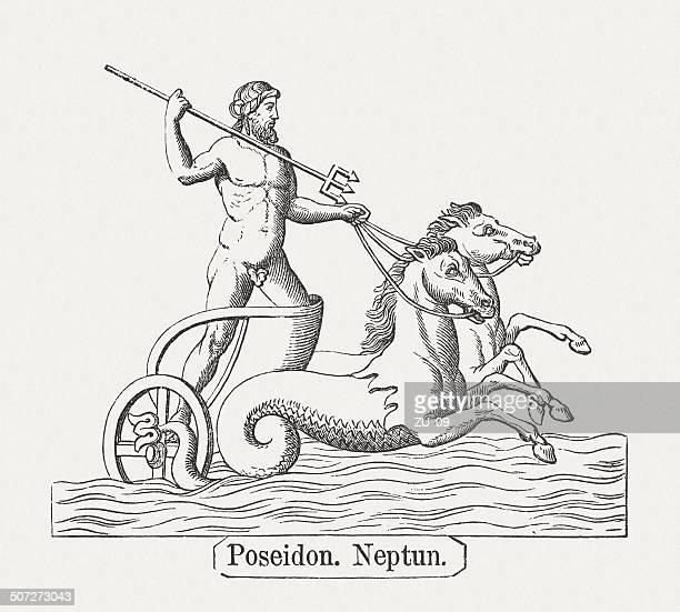 poseidon, or neptune, greek roman mythology, wood engraving, published 1878 - neptune roman god stock illustrations