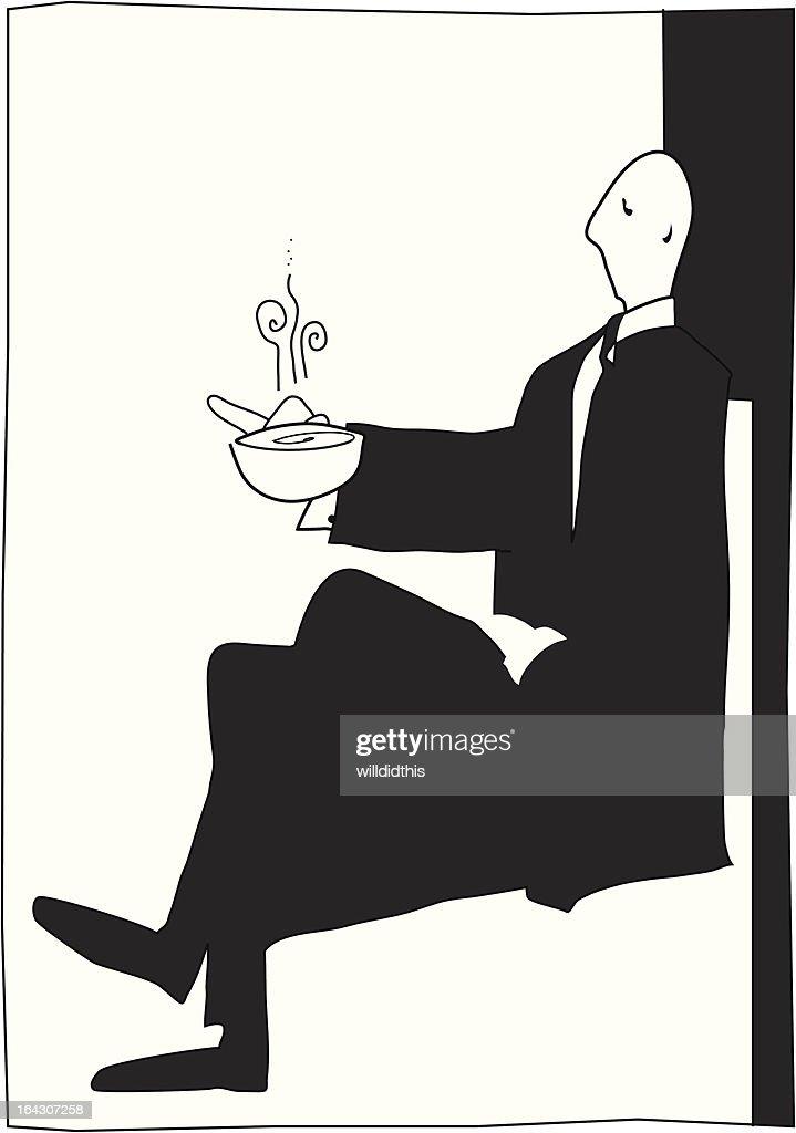 posh man enjoys a nice cup of tea