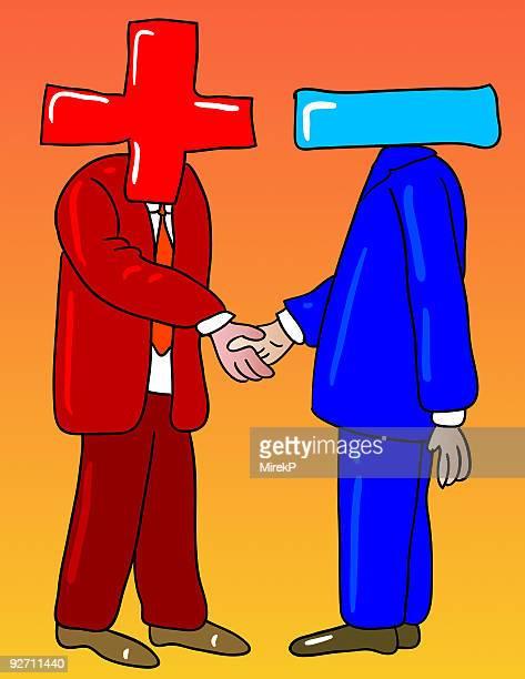 positive negative handshake