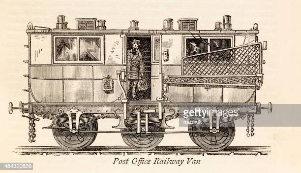 post office van, a 19 century technical illustration - post office stock illustrations, clip art, cartoons, & icons