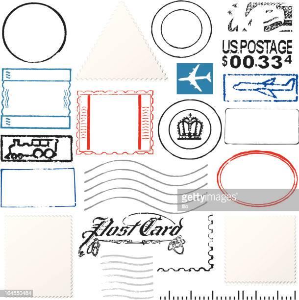 postage elements - postmark stock illustrations