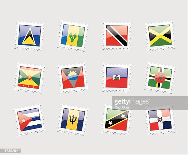 postage stamp flags: caribbeans - jamaican culture stock illustrations, clip art, cartoons, & icons
