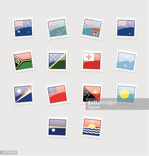 postage stamp flags: oceania - tuvalu stock illustrations, clip art, cartoons, & icons