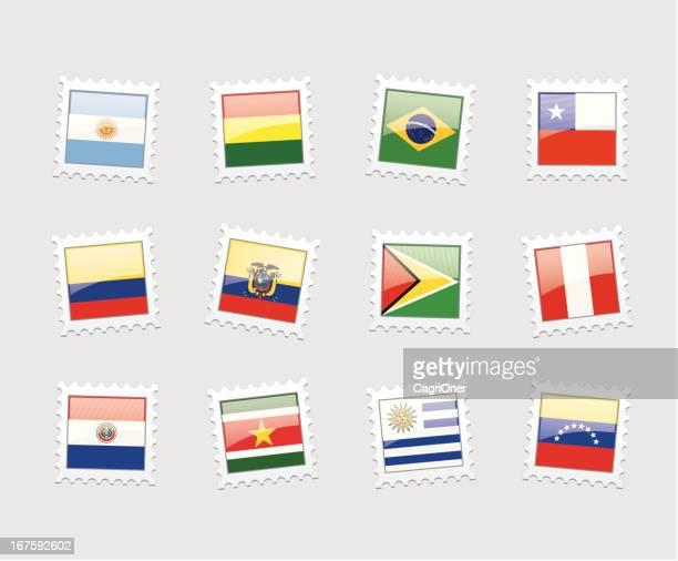 illustrazioni stock, clip art, cartoni animati e icone di tendenza di francobollo postale bandiere: sud america - bandiera del cile