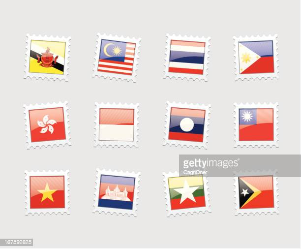 briefmarke flags: southeast asien - thailand stock-grafiken, -clipart, -cartoons und -symbole
