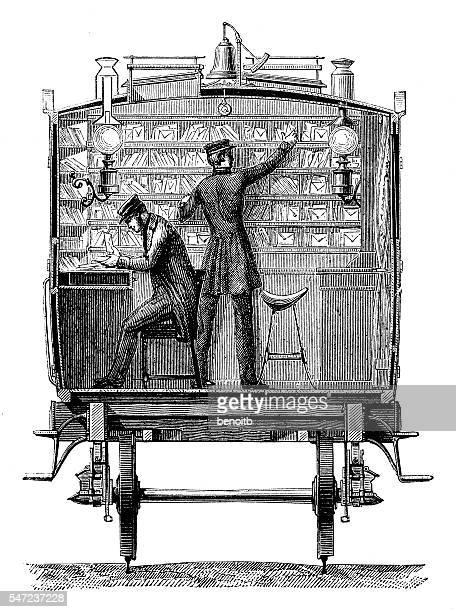postal train wagon - post office stock illustrations, clip art, cartoons, & icons