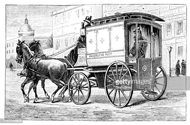 postal worker delivering mail in stagecoach berlin germany 1889 - carriage stock illustrations