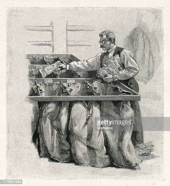 postal worker sorting letters and newspapers 1901 - post office stock illustrations, clip art, cartoons, & icons