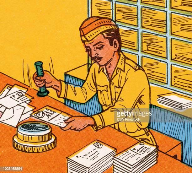 illustrations, cliparts, dessins animés et icônes de enveloppes et cartes d'estampage postier - facteur