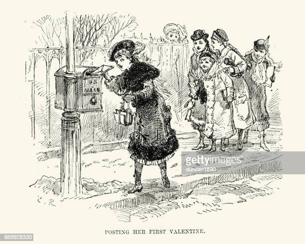 Posting her first valentine card, New Orleans, 19th Century