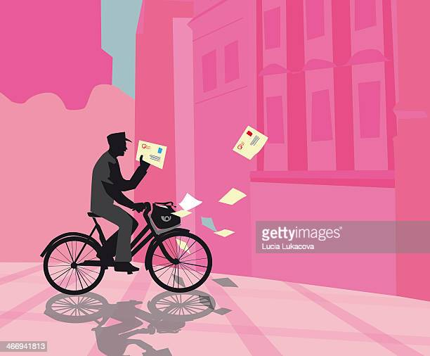 postman on the bicycle - letter stock illustrations