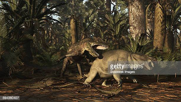 Postosuchus attacking a dicynodont in a Triassic forest.