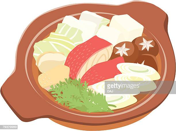 pot dish with fish and meat and vegetable, close-up, illustration - leek stock illustrations, clip art, cartoons, & icons