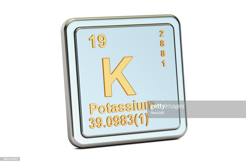 Potassium K Chemical Element Sign 3d Rendering Isolated On White