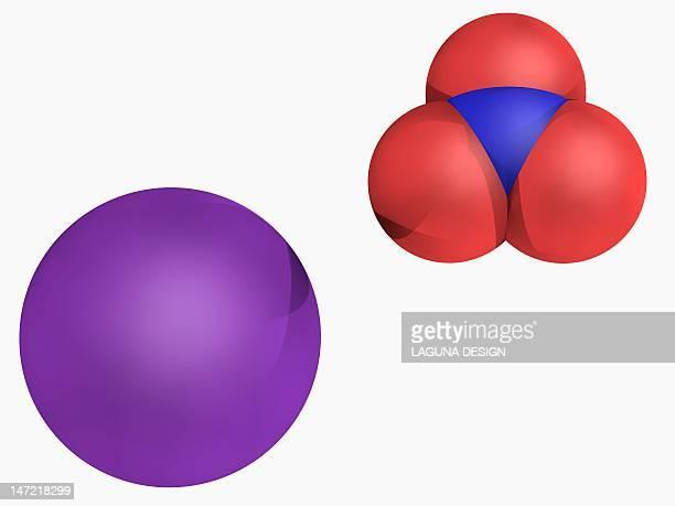 potassium nitrate molecule - firework explosive material stock illustrations