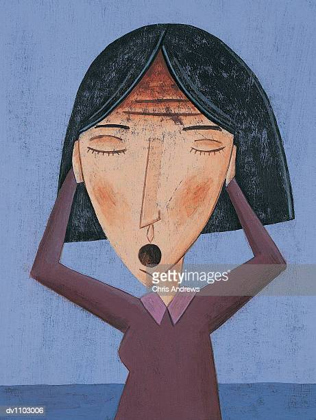 Potrait of a Woman With Her Eyes Closed and Her Hands Covering Her Ears