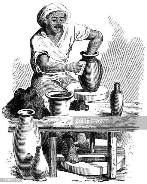 potter using a potter's wheel in jaffa, israel - ottoman empire 19th century - potter stock illustrations