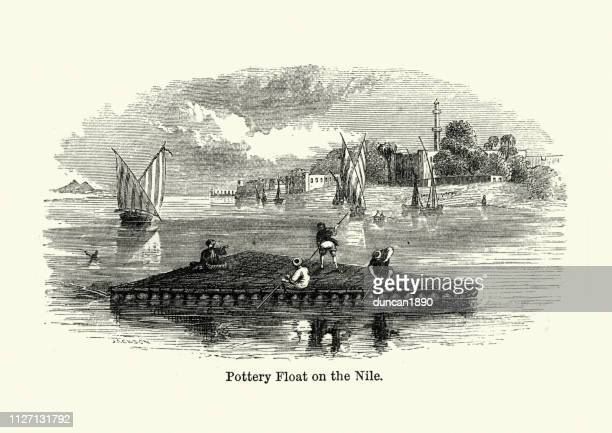 pottery float on the nile, egypt, 19th century - north african ethnicity stock illustrations, clip art, cartoons, & icons