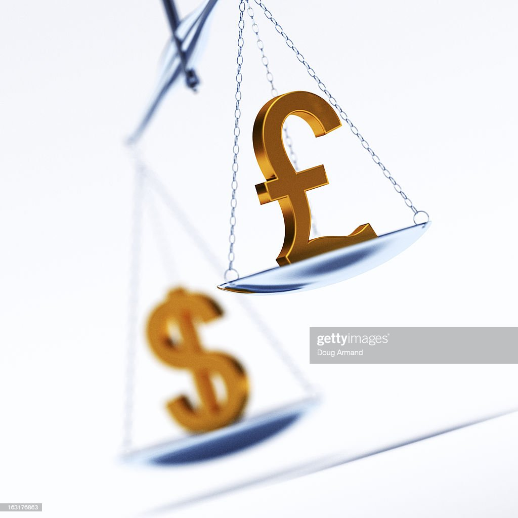 Pound And Dollar Currency Symbols On Scales Stock Illustration