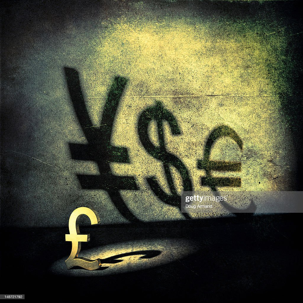 A pound symbol with shadows of other currencies : stock illustration