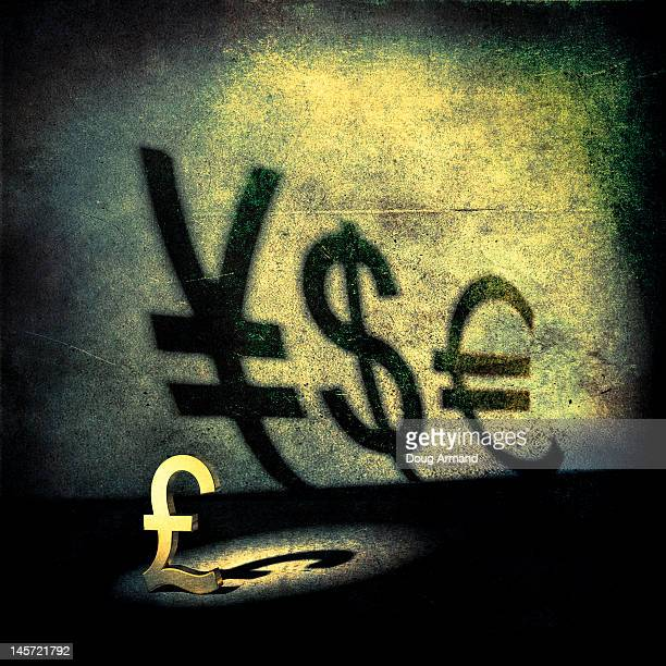 A pound symbol with shadows of other currencies