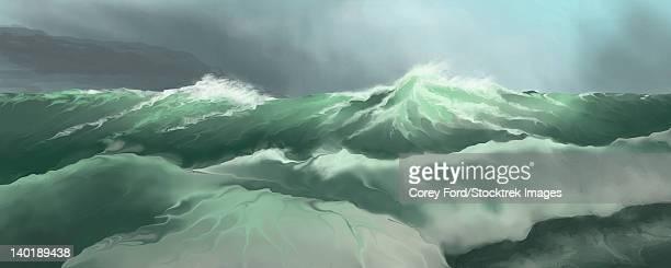 Pounding surf comes into shore.