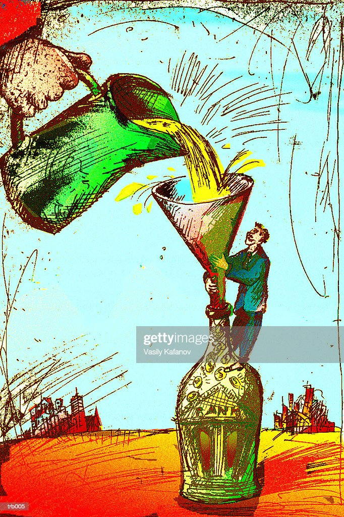 Pouring Liquid Gold into Bottle : Stockillustraties