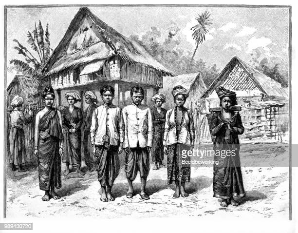 Pou-Thai's from tehepon in front stilt house in 1895