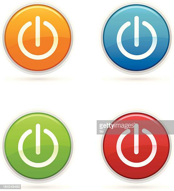 power icons - start button stock illustrations, clip art, cartoons, & icons