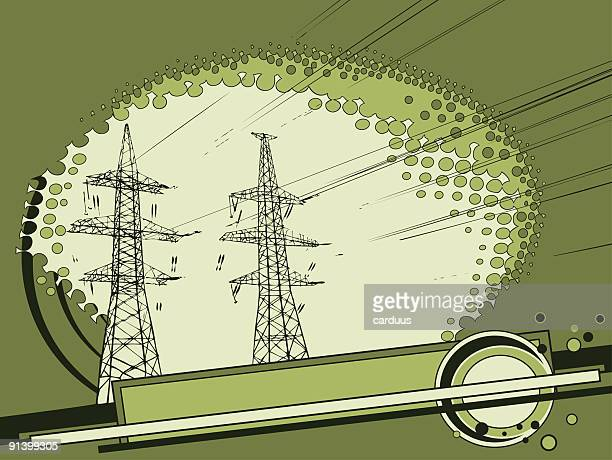 power lines - steel cable stock illustrations, clip art, cartoons, & icons