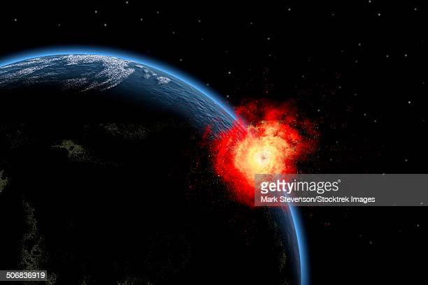 a powerful explosion on earth's surface as a result of a colliding asteroid impact. - out of context点のイラスト素材/クリップアート素材/マンガ素材/アイコン素材