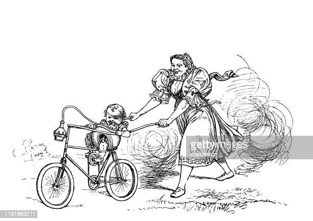 practical bicycle for baby and nanny - 1896 - nanny stock illustrations