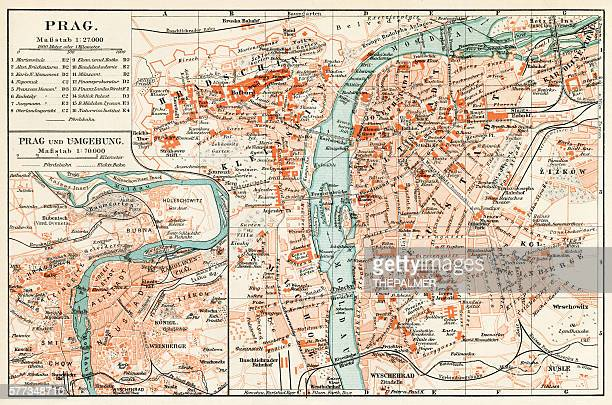 prague map 1896 - prague stock illustrations, clip art, cartoons, & icons