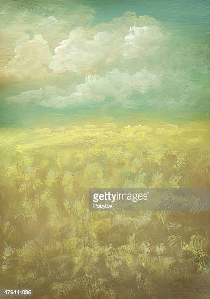 prairie - painted vintage background - prairie stock illustrations, clip art, cartoons, & icons