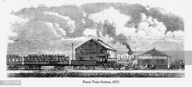 prarie train station, early american engraving, 1872 - prairie stock illustrations, clip art, cartoons, & icons
