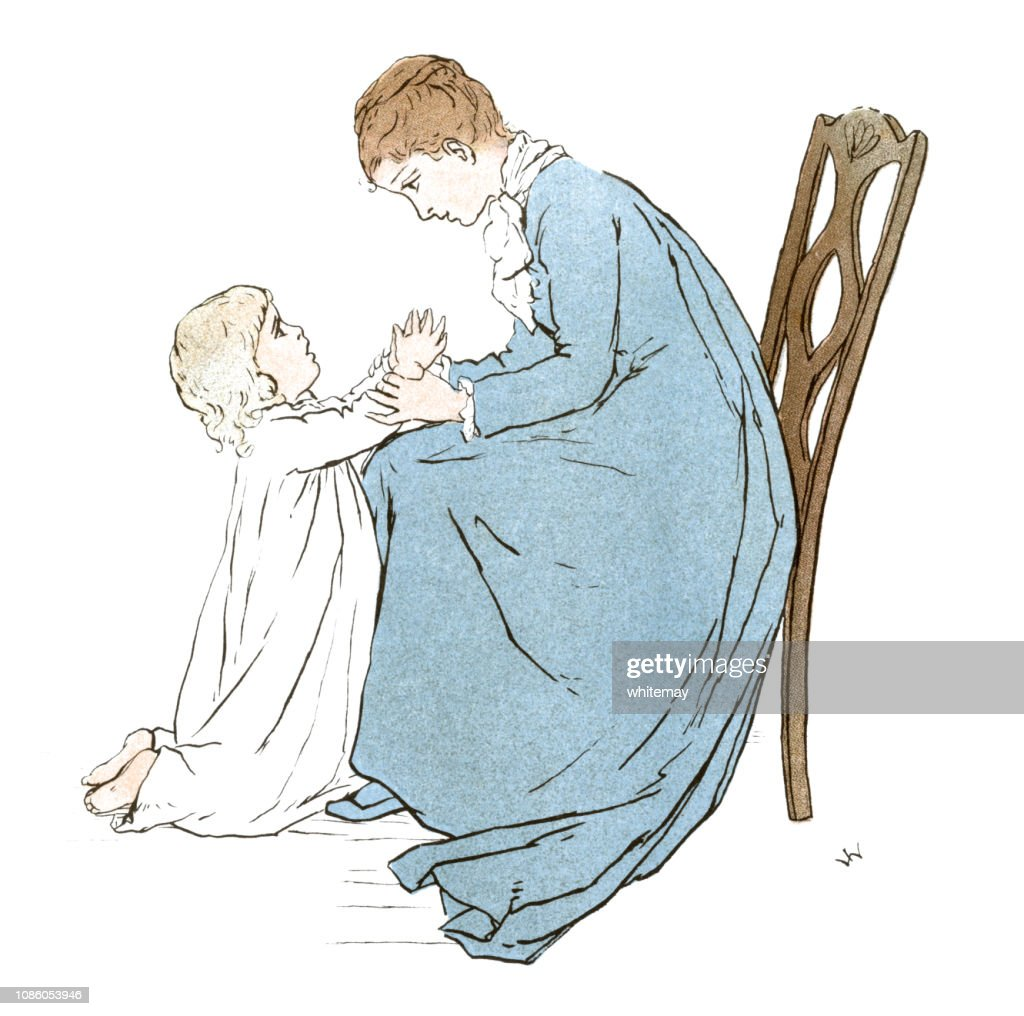 Prayers at bedtime with a Victorian mother and child : stock illustration