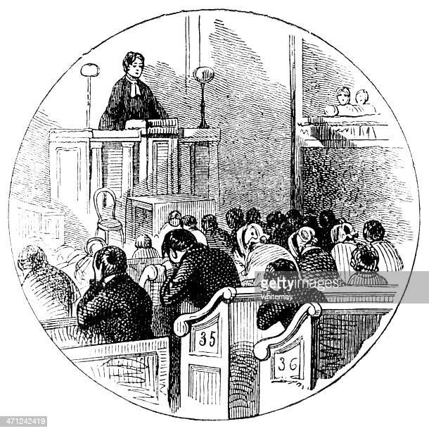 prayers in a chapel (victorian ilustration) - protestantism stock illustrations