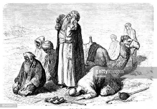 praying arabs - praying stock illustrations, clip art, cartoons, & icons
