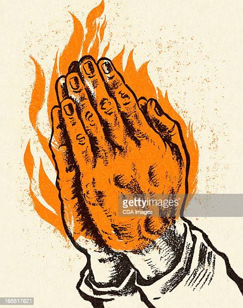 praying hands in flames - praying stock illustrations, clip art, cartoons, & icons