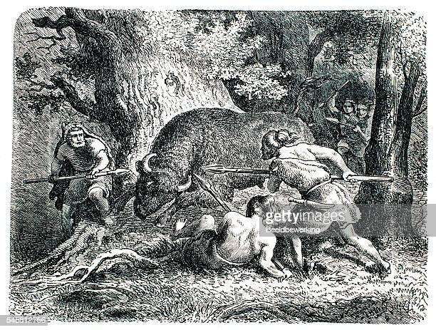 ilustraciones, imágenes clip art, dibujos animados e iconos de stock de pre historic hunting party  as seen in end 19th century - era prehistórica