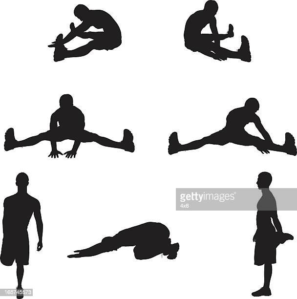 pre workout stretching man - touching toes stock illustrations, clip art, cartoons, & icons