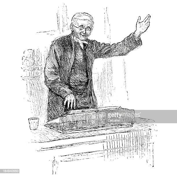Preacher at Pulpit - Victorian Engraving